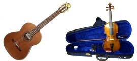 Musical Instruments, Classical and Acoustic Student Guitars, Violins, Harmonicas, Ukuleles and Recorders