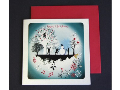 Silhouettes Snowman and Trees Card