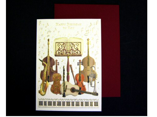 Instruments and Music Stand Birthday Card