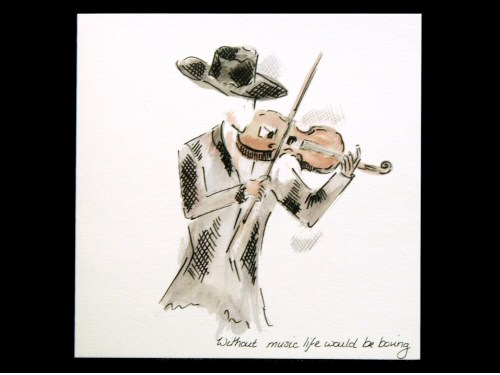Violinist in a Hat Card