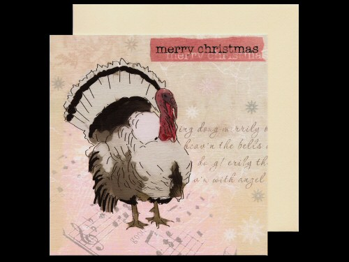 Turkey and Music Christmas Card