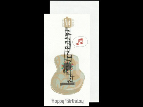 Guitar Birthday Card With Music Stave Strings