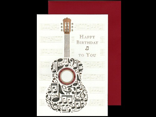 Guitar and Notes Birthday Card