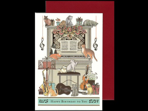 Upright Piano and Cats Birthday Card