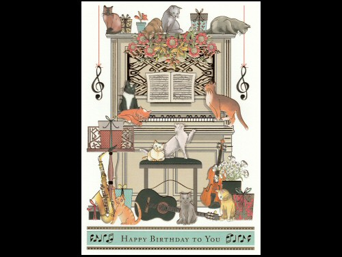 Upright Piano and Cats Birthday Card Extra Large
