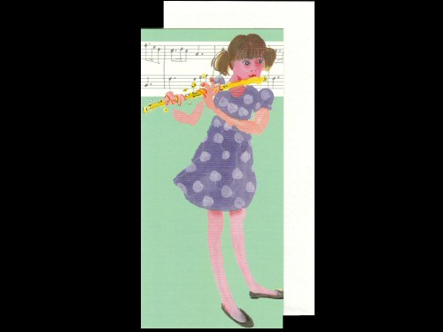 Girl and Flute Card