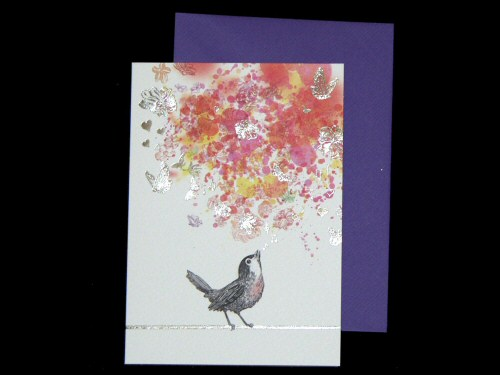 Bird Flowers and Butterflies Card