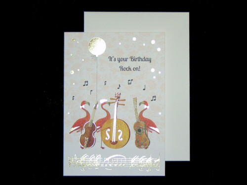 Flamingos and Instruments Birthday Card
