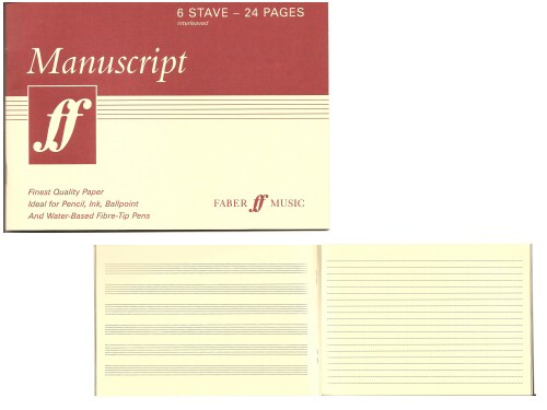 Manuscript Book A5 6 Stave Interleaved 24 Cream Pages