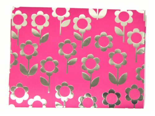 Pink With Silver Flowers Giftwrap