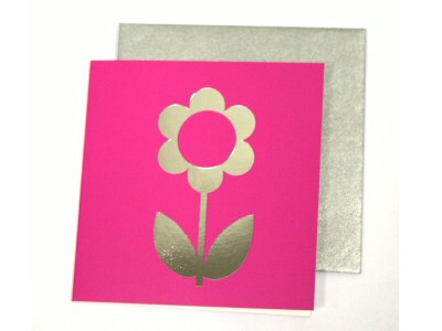 Pink With Silver Flower Gifttag