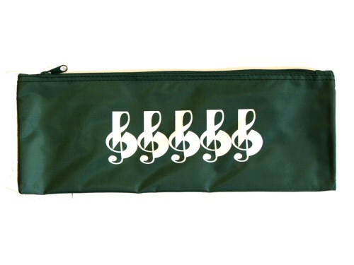 Green Treble Clef Design Large Pencil Case