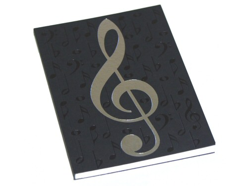 Black and Silver Treble Clef Design Notebook