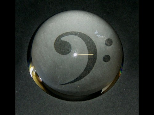 Bass Clef Design Glass Paperweight