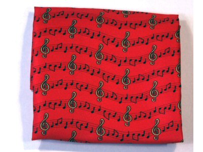 Red Handkerchief with Treble Clefs and Notes