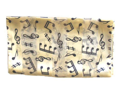 Cream Scarf - Navy Blue Music Design