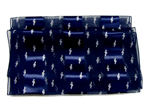 Navy Blue Scarf Treble Clef Design