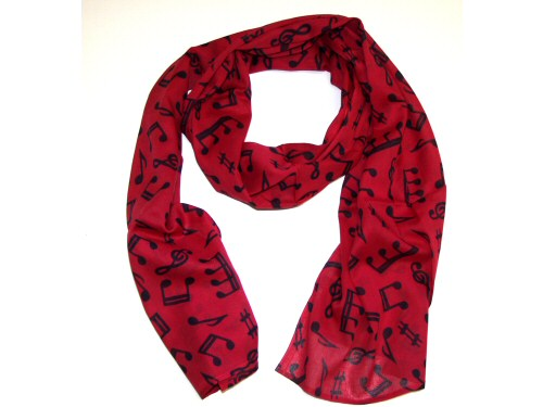 Cotton Scarf Red With Black Music Design