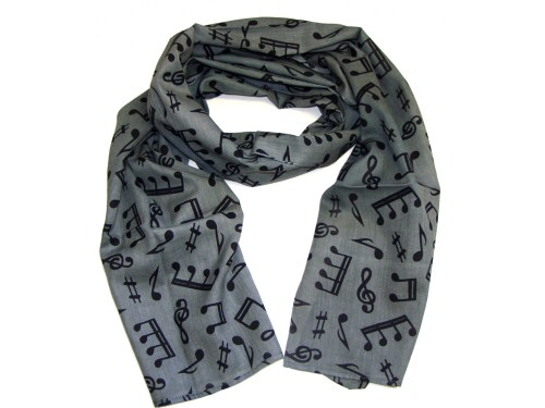 Cotton Scarf Grey With Black Music Design