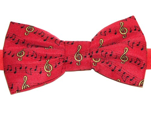 Red Bow Tie with Treble Clef and Notes