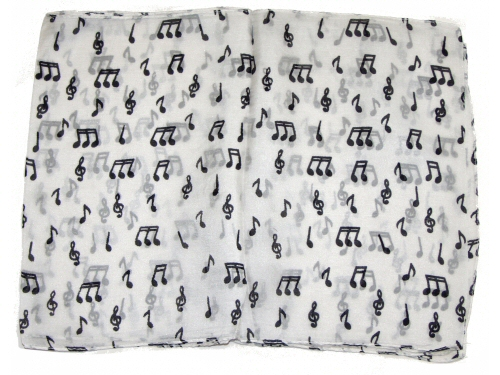 Silk Scarf White With Black Notes and Clefs