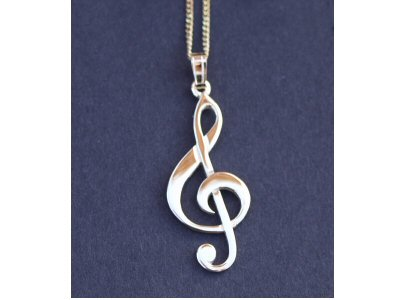 Gold Treble Clef Pendant