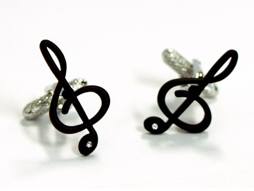 Treble Clef Cufflinks - Black