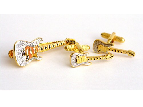 Electric Guitar Tiebar and Cufflink Set