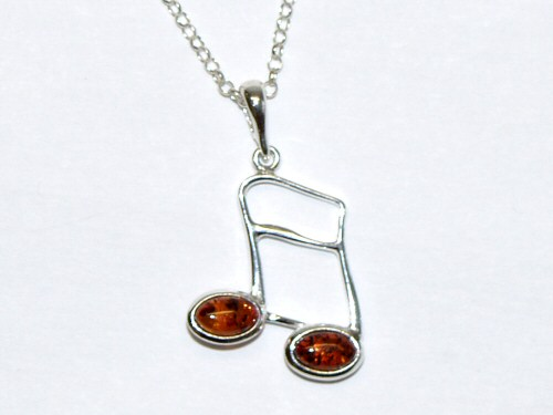 Silver and Amber Music Note Semiquaver Pendant