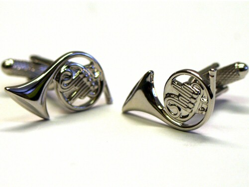 French Horn Cufflinks - Silver Colour