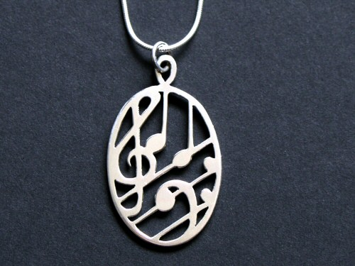 Silver Treble and Bass Clef Oval Pendant