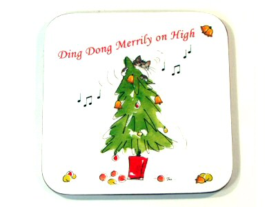 Cat and Christmas Tree Coaster
