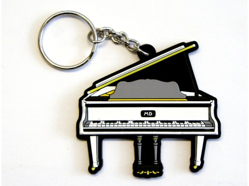 Grand Piano PVC Keyring Front White