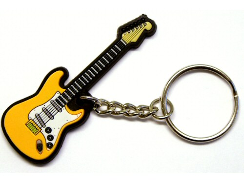 Electric Guitar PVC Keyring Yellow