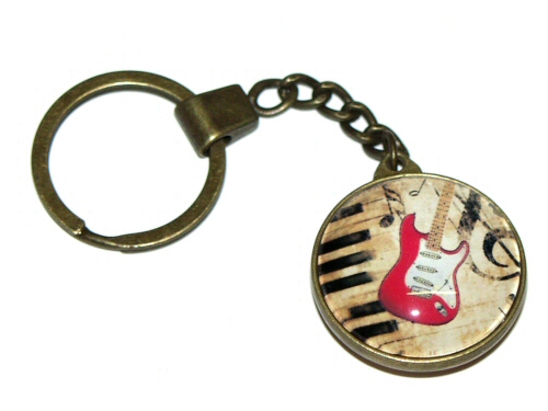 Bronze Effect Red Electric Guitar Keyring