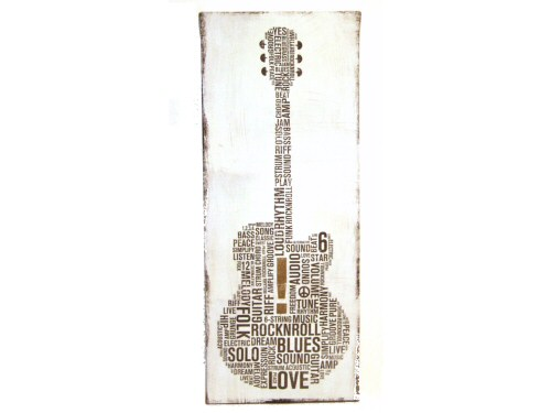 Guitar Picture Vintage Canvas Effect - White