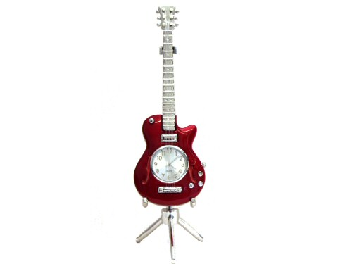 Red Electric Guitar Desk Clock