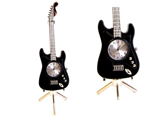 Black Electric Guitar Desk Clock