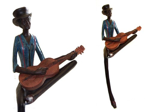 Blues Guitarist Figurine Seated