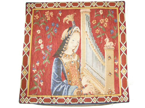 Lady Playing Organ Cushion Cover