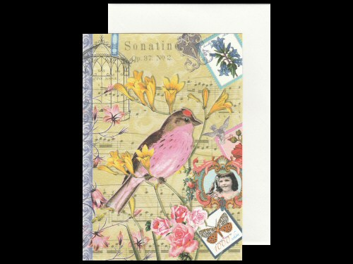 Bird Flowers and Music Card