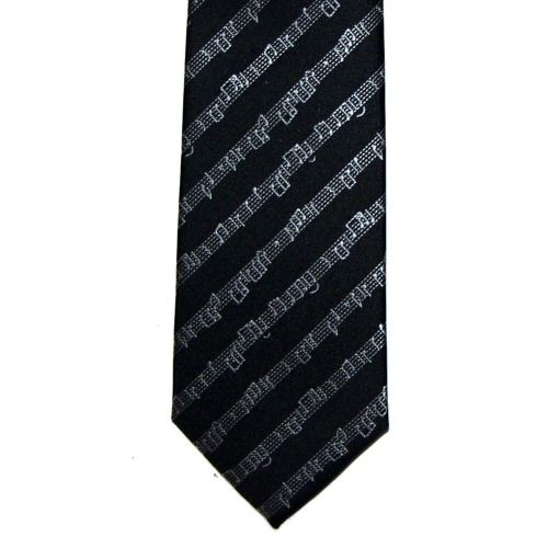 Black Tie With Diagonal Music Staves - 7.5cm