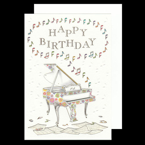 Colourful Piano Birthday Card