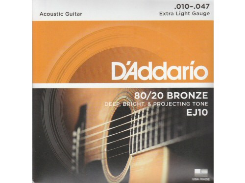 DAddario EJ10 80/20 Bronze Extra Light Set
