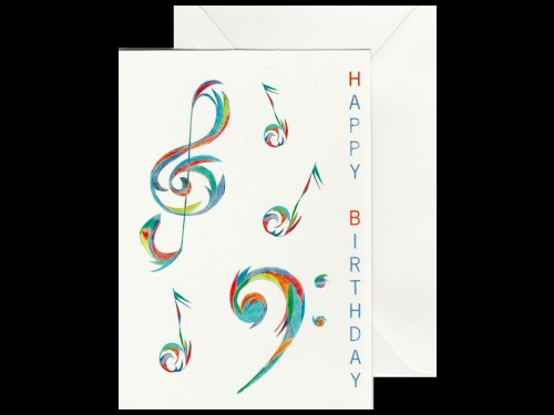 Musical Flares Clefs Birthday Card