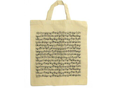 Music Manuscript Short Handle White Tote Bag