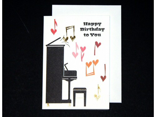 Upright Piano and Music Hearts Birthday Card