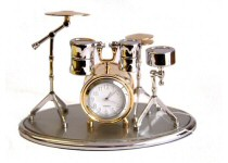 Miniature Piano, Guitar and Drums Clocks
