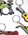 Music and Musical Instrument Keyrings Including Guitar, Piano, Drums, Saxophone and Violin Keyrings