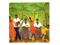 A bright an cheerful card featuring a band playing under palm trees. Two drummers, one guitarist, two dancers and someone playing the tambourine feature.